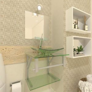 Gabinete de Vidro 40cm para banheiro Quadrado - Armênia-Incolor