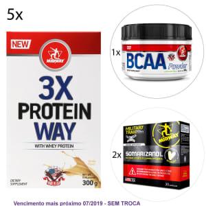 Kit Midway 5x Way Protein 3X Midway + BCAA Powder USA Hidrossolúvel + 2x Somarizanol Military Trail