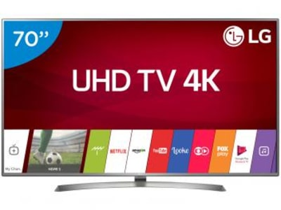 "Smart TV LED 70"" LG 4K/Ultra HD 70UJ6585 WebOS - Conversor Digital Wi-Fi 4 HDMI 2 USB Bluetooth HDR - Magazine Ofertaesperta"