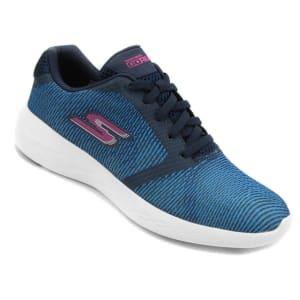 Tênis Skechers Go Run 600 Control Feminino - Azul e Rosa