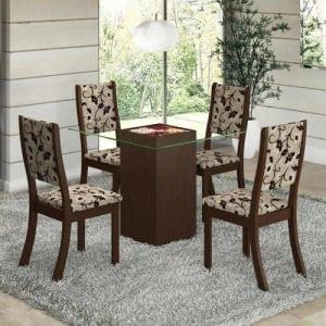 [4 cores] Conjunto Para Sala De Jantar Mesa E 4 Cadeiras Viero Via Com Tampo Choco/Trigo