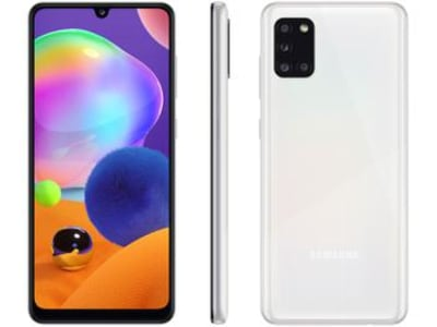 "Smartphone Samsung Galaxy A31 128GB Branco 4G - Octa-Core 4GB RAM Tela 6,4"" Câm.Quádrupla + Selfie - Magazine Ofertaesperta"