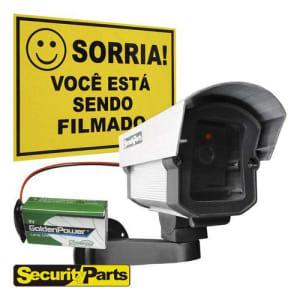 Micro Câmera Falsa Com Led A Pilha Sem Fio + Placa Sorria