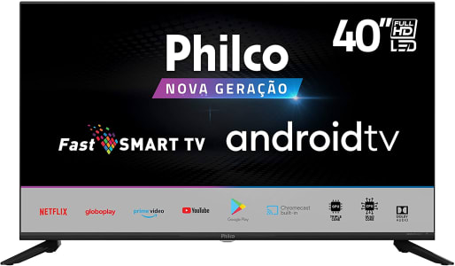 "Smart Android Google TV PHILCO 40"" TV PTV40G71AGBL LED - GLOBO PLAY- YOUTUBE"