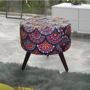 Puff Decorativo em Suede Mandala Alegria Colorido Matrix 381