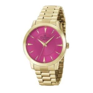 Relógio Feminino Analógico Champion, Pulseira de Aço Dourado, Caixa de 3,8 CM, Resistente à Água - 5 ATM (50 Metros) - CN25092L