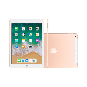 """iPad Apple 6 MRM02BZ/A 4G Wi-Fi 32GB IOS 11 Chip A10 Tela 9.7"""" Câmera Frontal 8MP Dourado"""