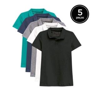 Kit de 5 Camisas Polo Femininas - Verde Claro e Marinho