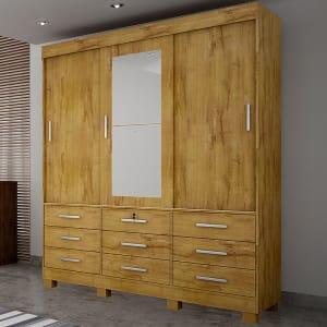 Oferta ➤ Guarda-Roupa Casal 3 Portas Sonare C/ Espelho – Novo Horizonte – Freijo dourado   . Veja essa promoção