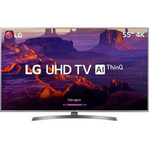 "Smart TV LED LG 55"" 55UK6530 Ultra HD 4k com Conversor Digital 4 HDMI 2 USB Wi-Fi Dts Virtual X Sound Sync 60Hz Inteligencia Artificial - Prata"