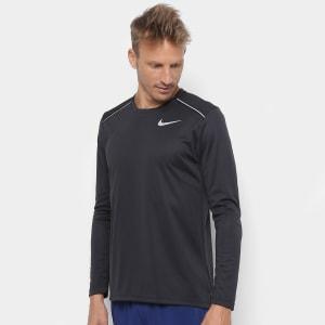 Camiseta Nike Manga Longa Dri-Fit Miler Masculina - Preto