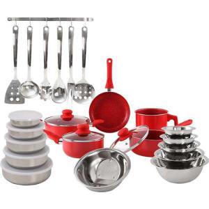 Conj. Panelas Everyday Vermelha 5 peças + Kit Inox 17 peças - La Cuisine