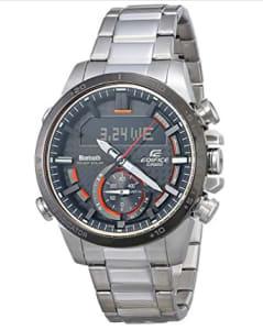 CASIO Relógio masculino de quartzo Edifice com pulseira de aço inoxidável, prata, 22 (modelo: ECB-800DB-1ACF)