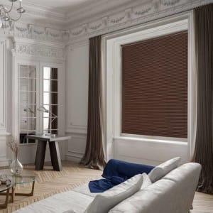 Persiana PVC Texturizada 25mm 1,60mx1,40m Isadora Design Marrom Amadeirado
