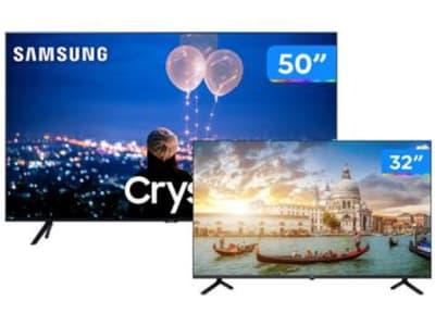 "Combo Smart TV Crystal UHD 4K LED 50"" Samsung - 50TU8000 Wi-Fi + Smart TV HD D-LED 32"" Philco - Magazine Ofertaesperta"