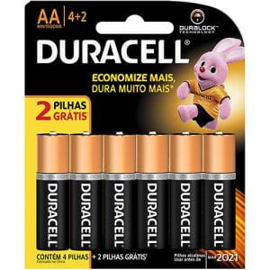 Kit Pilha Alcalina Duracell  AA Leve 6, Pague 4
