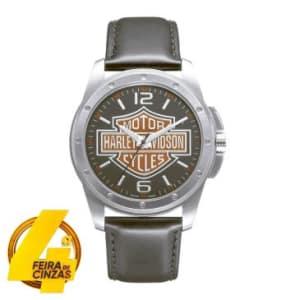 Relógio Masculino Analógico Bulova Social Harley Davidson,  Pulseira de Couro Preto, Caixa de 4,2 cm, Resistente a Agua 50M WH300197