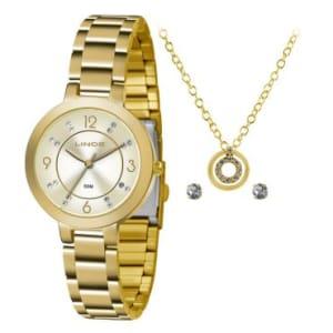 Kit Relógio Feminino Analógico  Lince, Pulseira em Aço Dourado, Caixa de 3,2 cm, Resistente à água 50 metros  + Colar e Brincos- LRG4513L KU67S1KX