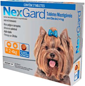 NexGard Antipulgas e Carrapatos para Cães de 2 a 4kg 3 tabletes