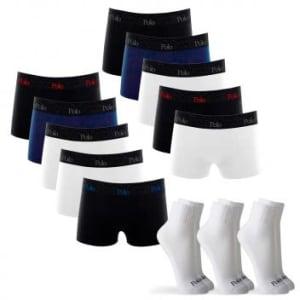Kit 10 Cuecas Boxer de Cotton 4.0 com 3 Pares de Meia Cano Médio Branca G - POLO Match - Magazine Ofertaesperta