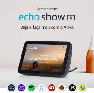 "Smart Speaker Echo Show 8 Amazon Tela 8"" e Alexa em Português"