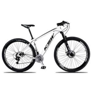 Bicicleta Aro 29 KSW Xlt 21V Câmbios Shimano Freio a Disco Mecânico Branco e Preto 19