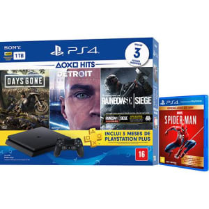 Console Playstation 4 Slim 1TB Hits Bundle 5 + Controle Dualchock 4 + Game Marvel's Spider-Man - GOTY - PS4