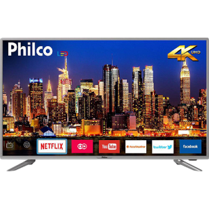 "Smart TV LED 40"" Philco PTV40G50sNS Ultra HD 4k com Conversor Digital 3 HDMI 2 USB Wi-Fi Som Dolby 60Hz Prata"