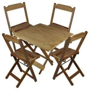 Jogo Mesa 4 Cadeiras Madeira 70 por 70 Dobráveis Sem Pintura