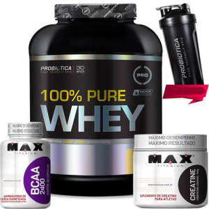 Kit 100% Pure Whey 2kg Creatina Bcaa Coq Probiotica/Max