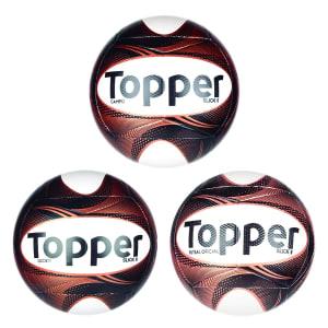 Kit 3 Bolas Topper Slick II - Campo, Futsal e Society - Preto e Dourado