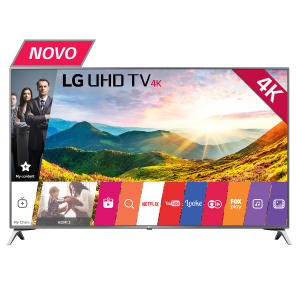 """Smart TV LED 49"""" LG 49UJ6525 Ultra HD 4K 4 HDMI 2 USB Prata com Conversor Digital Integrado"""