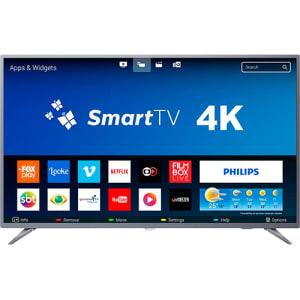 "Smart TV LED 55"" Philips 55PUG6513/78 Ultra HD 4k com Conversor Digital 3 HDMI 2 USB Wi-Fi 60hz - Prata"