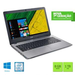 Notebook Acer Aspire F5 com Intel® Core i7-7500U, Tela LED de 15.6, 8GB de Memória, 1TB de HD, GeForce 4 GB e Windows 10 - F5-573G-75A3