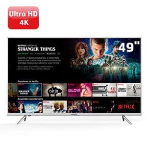 Oferta ➤ Smart TV LED 49 UHD 4K Semp 49K1US com HDR, Painel RGB, Wi-FI, Ginga, Miracast, Metallic Frame, Design Slim, HDMI e USB   . Veja essa promoção