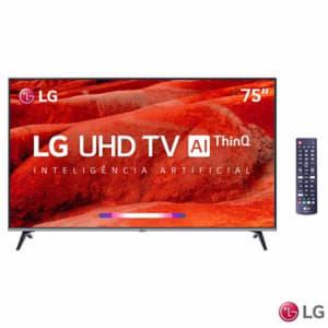 "Smart TV 4K LG LED 75"" Google Assistant, Home Dashboard e Wi-fi - 75UM7510PSB"