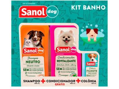 Kit Shampoo e Condicionador Colônia - Cachorro e Gato Neutro Sanol Dog - Magazine Ofertaesperta