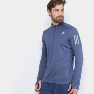 Camiseta Adidas Manga Longa Rs Ls Zip Masculina - Azul