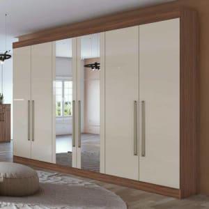 Guarda Roupa Casal com Espelho 6 Portas Castellaro Móveis Lopas Rovere Naturale/Off White