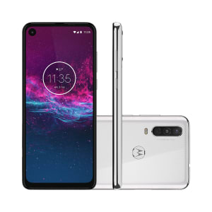 "Smartphone Motorola One Action 128GB Branco Polar 4G Tela 6.3"" Câmera Tripla 16MP Selfie 12MP Android 9.0 Pie"