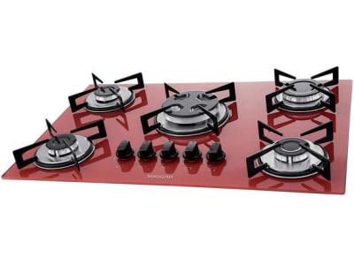 Cooktop 5 Bocas Suggar Vermelho Gás GLP - Tripla-Chama FG5305VM - Magazine Ofertaesperta