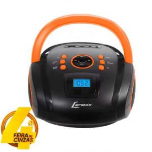 Som Portátil Boombox 5W RMS Lenoxx com USB, Rádio FM Estéreo, MP3, Micro SD, Entrada Auxiliar, Display Digital e Alça para Transporte - BD108