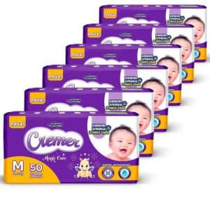 Fralda Descartável Cremer Disney Baby Mega Tam M 6 Pacotes - 300 Unidades