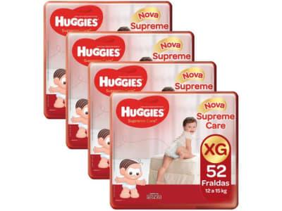 Kit Fraldas Huggies Turma da Mônica Supreme Care - Tam. XG 12 a 15kg 4 Pacotes com 52 Unidades Cada - Magazine Ofertaesperta