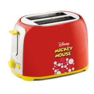 Torradeira Disney Mickey Mouse Mallory 850W Bandeja Coletora de Migalhas, Base Antiderrapante, 6 Níveis de Tostagem e Funções Reaquecer e Descongelar