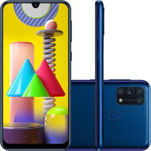 "Smartphone Samsung Galaxy M31 Dual Chip Android 10.0 Tela 6.4"" Octa-Core 128GB 4G Câmera Quádrupla 64MP+8MP+5MP+5MP - Azul"