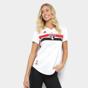 Camisa São Paulo I 19/20 s/n° Torcedor Adidas Feminina - Branco e Vermelho