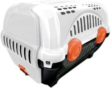 Caixa de Trans para Pets Luxo Furacão Pet N.3, Branca com Laranja