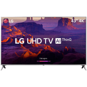 "Smart TV LED 43"" LG 43UK6510 Ultra HD 4k com Conversor Digital 4 HDMI 2 USB Wi-Fi Thinq Ai Dts Virtual X 60Hz Inteligencia Artificial - Prata"