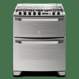 Fogão 5 Bocas Electrolux Prata Automático com 2 Fornos e Grill (76DXR) - Bivolt